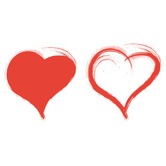 2 painted red hearts, vector, brushstroke