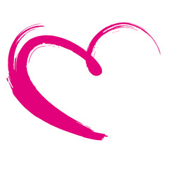 pink painted heart,  violet, vector, brushstroke