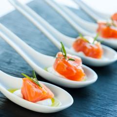 Smoked salmon delicatessen.