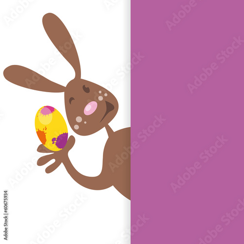easter bunny behind blank board vektor stylish