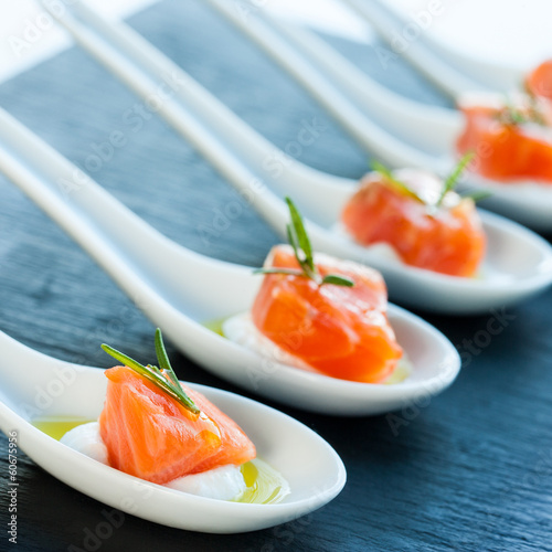 Smoked salmon delicatessen.