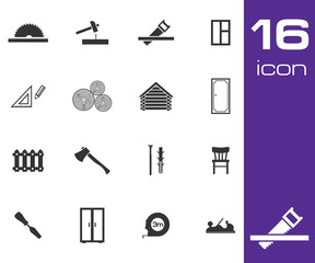 Vector black carpentry icons set on white background