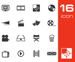 Vector black cinema icon set on white background