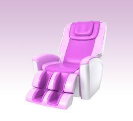 Pink stylish massage chair on gradient background