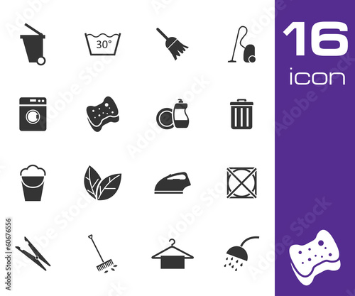 Vector black cleaning icons set on white background