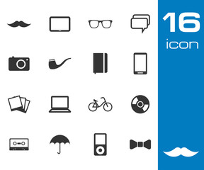 Vector black Hipster icon set on white background