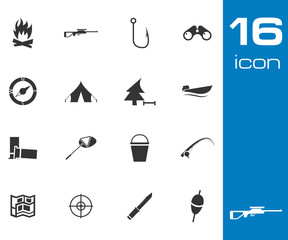 Vector Black  Hunting Icons Set on white background