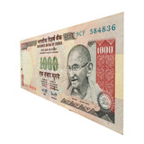 1000 Rupee Note with Mahatma Gandhi