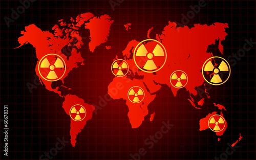 World Map Nuclear Waste Radioactive Hazard Zone