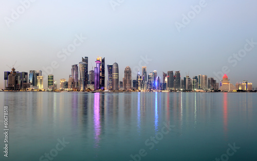 Doha downtown skyline at dusk, Qatar, Middle East