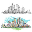 Cityscape. Hand drawn vector
