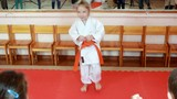 Direct punch foot karate making little athlete