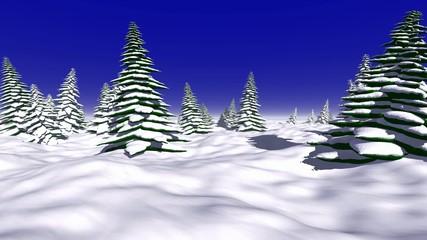 Schneemann im Winterwald