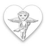 Cupid holds his bow and arrow.