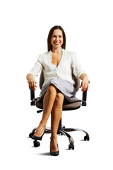 smiley woman sitting on the office chair