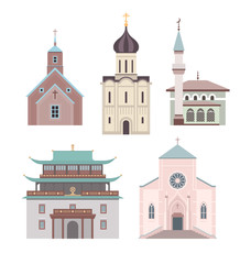 Church flat illustration collection
