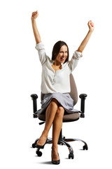 woman sitting on the office chair