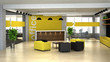 3d rendering an interior of the office. Hall with reception - 60680593