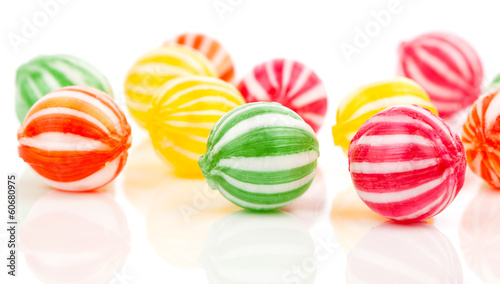 colored candies isolated on white.