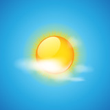 Weather icon - cloud and sun vector illustration