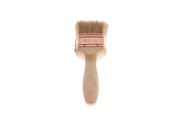 A brand new paintbrush, isolated on pure white.