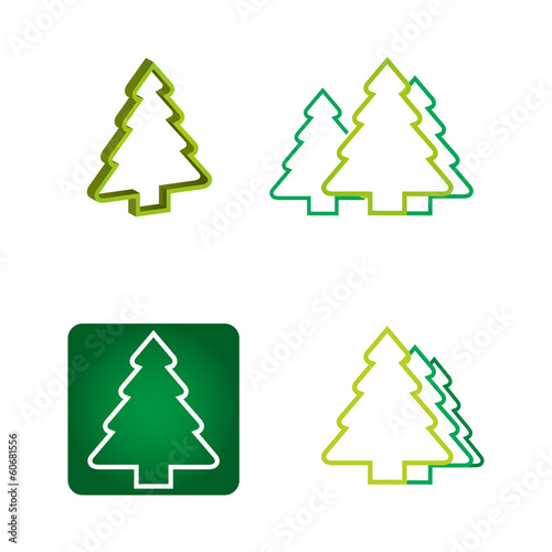 Ecology concept - pine tree icon