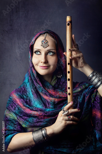 Woman with Indian flute