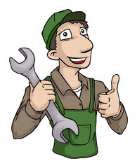 Repairman with giant wrench and thumbs up