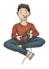 Boy Playing Video Computer Game Holding Controller