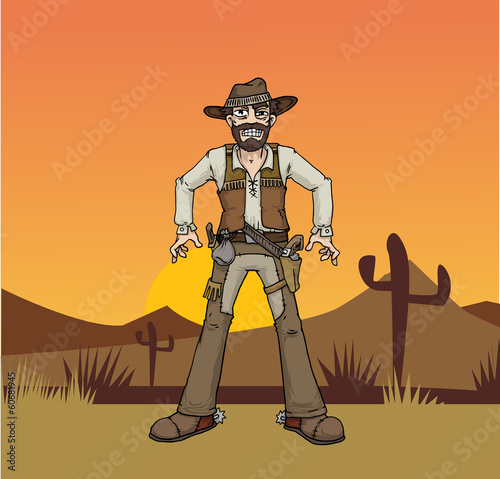 Cartoon cowboy in a desert landscape