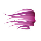 Fototapety Vector violet Logo girl fast in the wind