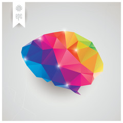 Abstract geometric human brain, triangles, creativity, vector
