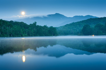 North Carolina Full Moon Mountain Reflection Blue Hour