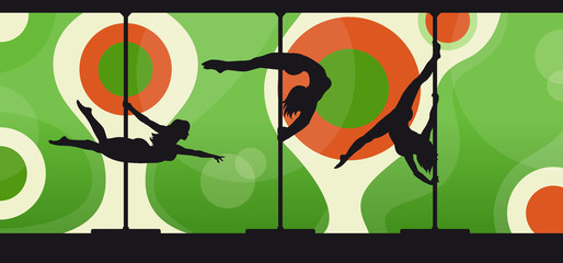 Silhouettes of female pole dancers  on abstract green background