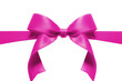 Pink satin ribbon bow isolated on white