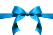 Satin blue ribbon bow isolated in white