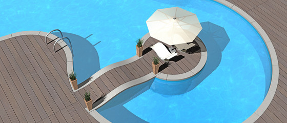 swimming pool, sunshade and deckchairs