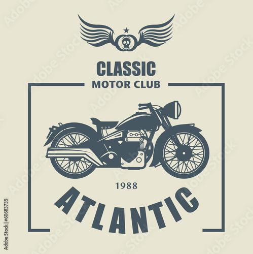 Fototapeta Vintage Motorcycle label, vector illustration