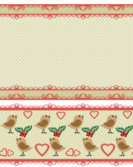 Valentines day seamless pattern with birds and hearts on green