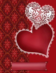 Invitation letter with lacy hearts on red