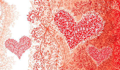 St.Valentine Love Red Hearts Card background (EPS-8)