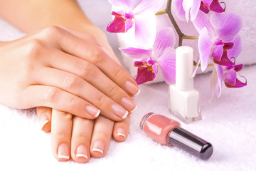 beautiful french manicure with pink orchid on the white