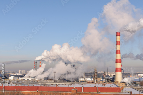 Oil refinery in the city of Moscow in winter