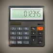 Calculator isolated on dark background, vector illustration