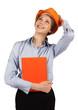 Girl in orange helmet looks up