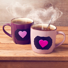Cup of tea with chalkboard stickers and heart shape
