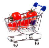 Shopping cart with cherry tomatoes