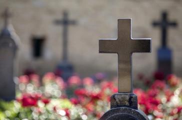 Granite crosses on tombs of heroes.