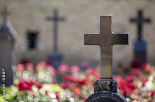 Granite crosses on tombs of heroes.