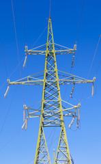 110 kv  High voltage tower on a blue sky background